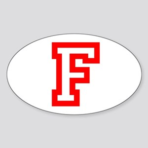 F - RED CAPITAL LETTER ATHLETIC MON Sticker (Oval)