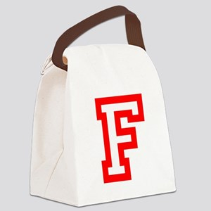 F - RED CAPITAL LETTER ATHLETIC M Canvas Lunch Bag
