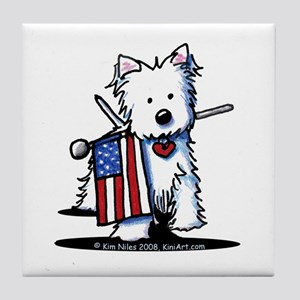 2008 JULY 4th Westie Tile Coaster