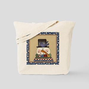 Bird On A Snowman Christmas Tote Bag