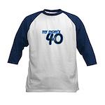 Mom Is 40 & Blue Kids Baseball Jersey