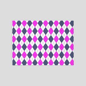 Pink & Purple: Argyle Pattern 5'x7'Area Rug