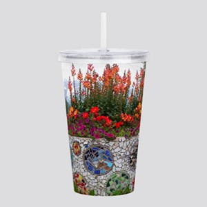 Flowers and mosaics, A Acrylic Double-wall Tumbler