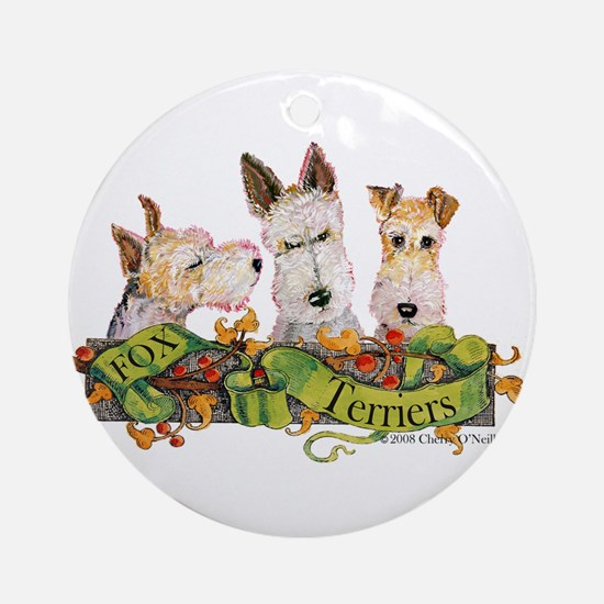 Fox Terrier Trio Ornament (Round)