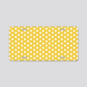 Yellow Polka Dots Aluminum License Plate