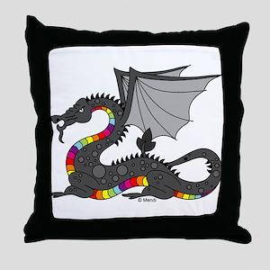 Angry Rainow Dragon Throw Pillow