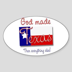 God made Texas Oval Sticker