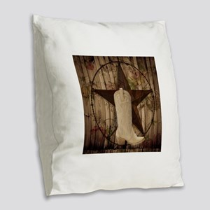 texas western country cowgirl Burlap Throw Pillow