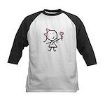 Girl & Pink Ribbon Kids Baseball Jersey