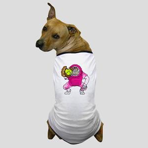 Pink Softball Catcher Dog T-Shirt