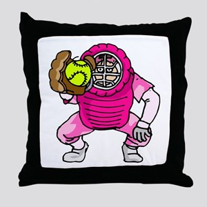 Pink Softball Catcher Throw Pillow