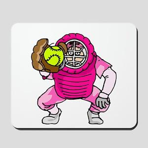 Pink Softball Catcher Mousepad