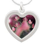 Cherry Tree Blossom Silver Heart Necklace