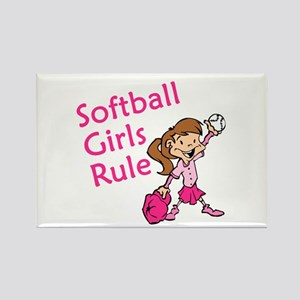 Softball girls Rule Rectangle Magnet