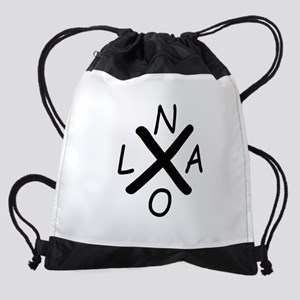 Hurrican Katrina X NOLA black font Drawstring Bag