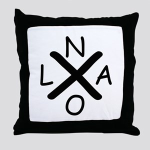Hurrican Katrina X NOLA black font Throw Pillow