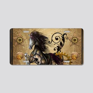 Wild steampunk horse with clocks and gears Aluminu
