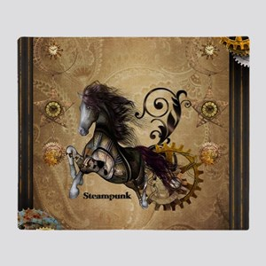 Wild steampunk horse with clocks and gears Throw B