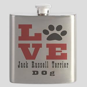 Love Jack Russell Terrier Dog Designs Flask