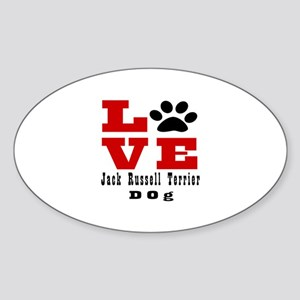 Love Jack Russell Terrier Dog Desig Sticker (Oval)