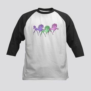 Stylized Horse Trio Kids Baseball Jersey
