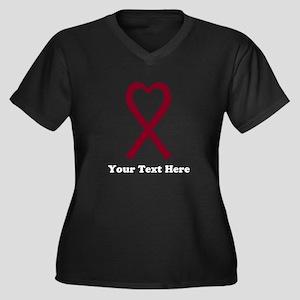 Personalized Women's Plus Size V-Neck Dark T-Shirt