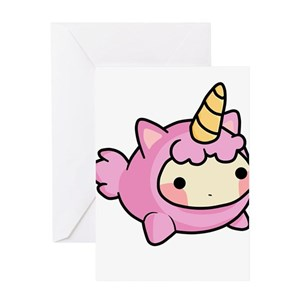 Funny Pink Unicorn Greeting Cards Cafepress