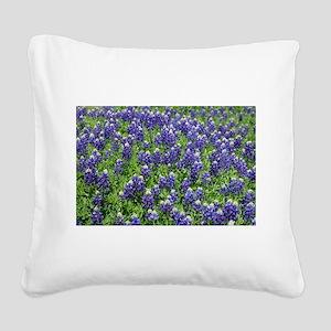 Texas Bluebonnet Field Square Canvas Pillow