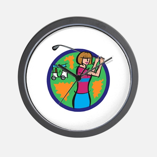 Woman Golfer Wall Clock