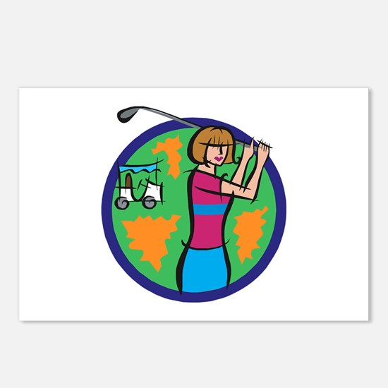 Woman Golfer Postcards (Package of 8)