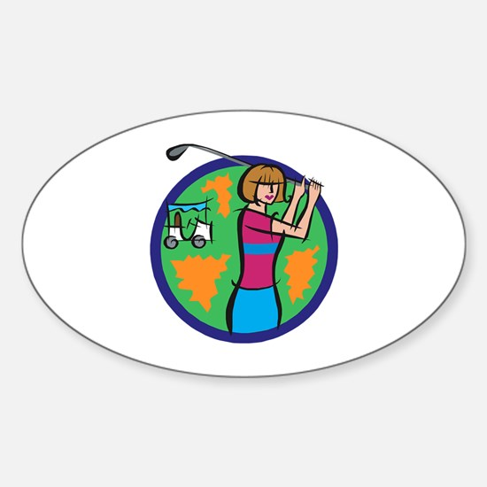 Woman Golfer Oval Decal