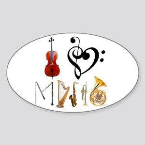I Love Music Oval Sticker