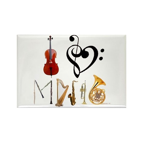 I Love Music Rectangle Magnet (100 pack)