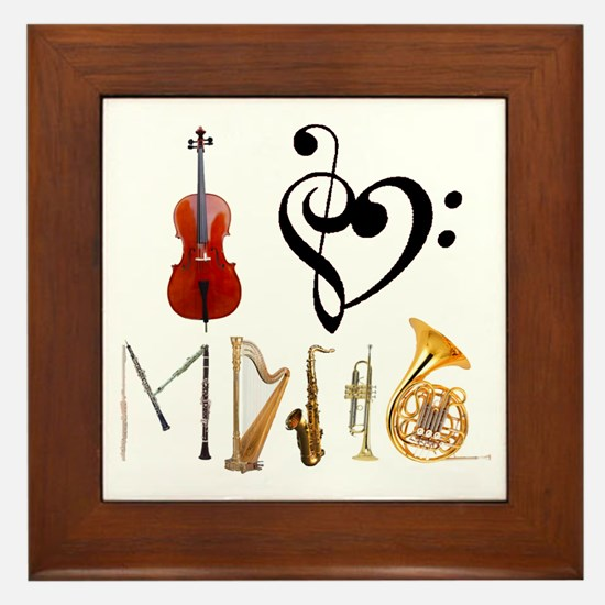 I Love Music Framed Tile