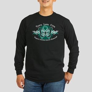 Ovarian Cancer Butterfly Long Sleeve Dark T-Shirt