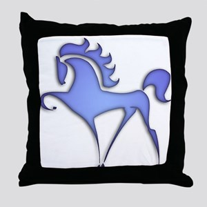 Stylized Horse (blue) Throw Pillow