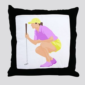Woman Golfer Throw Pillow