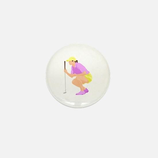 Woman Golfer Mini Button