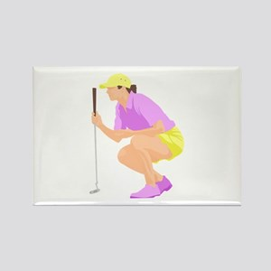 Woman Golfer Rectangle Magnet