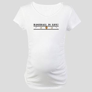 Baseball is Life (stripe) Maternity T-Shirt
