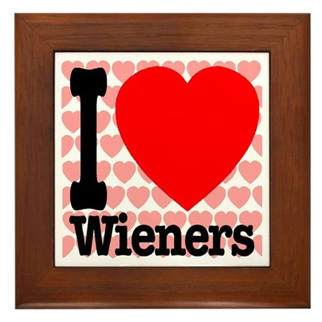 I Love Wieners Framed Tile