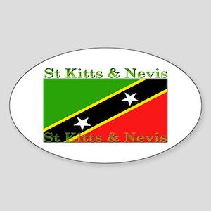 St Kitts & Nevis Oval Sticker