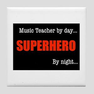 Superhero Music Teacher Tile Coaster