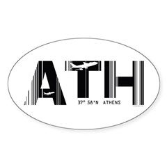 Athens ATH Greece Airport Code Oval Decal