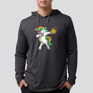 Dabbing Unicorn Softball Funny Long Sleeve T-Shirt