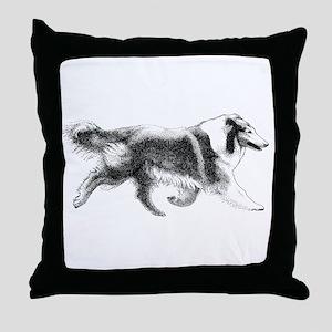 Running Collie Throw Pillow