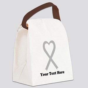 Personalized Gray Awareness Ribbo Canvas Lunch Bag