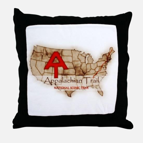 Antique Appalachian Trail Throw Pillow
