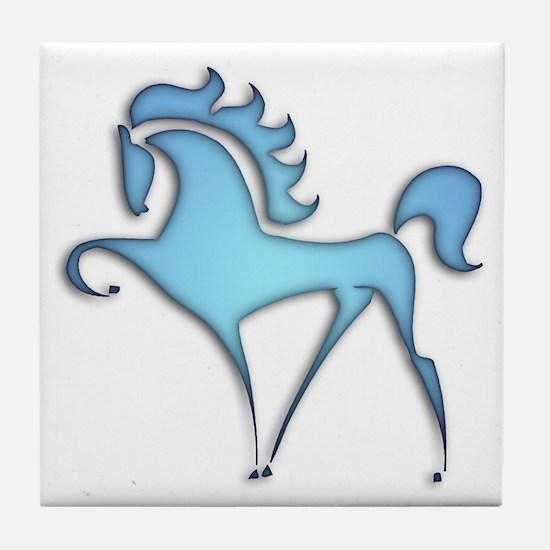 Stylized Horse (blue lt) Tile Coaster