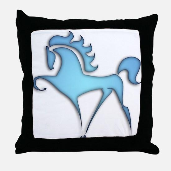 Stylized Horse (blue lt) Throw Pillow
